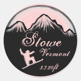 Stowe Vermont light pink snowboard art stickers