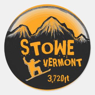 Stowe Vermont orange snowboard art stickers