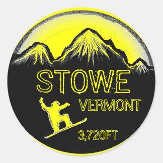 Stowe Vermont yellow snowboard art stickers