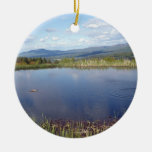 Stowe, VT Double-Sided Ceramic Round Christmas Ornament
