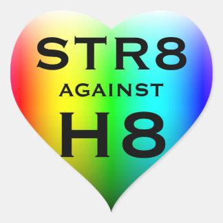 STR8 AGAINST H8 HEART STICKER