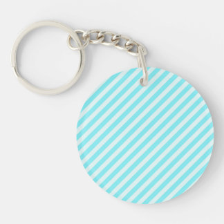 [STR-AQ-1] Aqua and white candy cane striped Single-Sided Round Acrylic Keychain