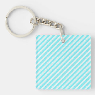 [STR-AQ-1] Aqua and white candy cane striped Double-Sided Square Acrylic Keychain