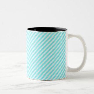 [STR-AQ-1] Aqua and white candy cane striped Two-Tone Coffee Mug