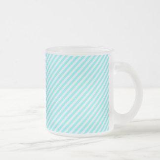 [STR-AQ-1] Aqua and white candy cane striped 10 Oz Frosted Glass Coffee Mug