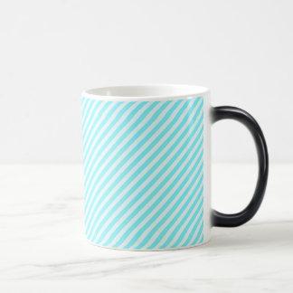 [STR-AQ-1] Aqua and white candy cane striped 11 Oz Magic Heat Color-Changing Coffee Mug