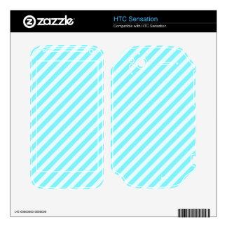 [STR-AQ-1] Aqua and white candy cane striped HTC Sensation Skin
