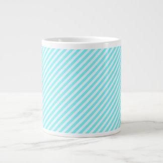 [STR-AQ-1] Aqua and white candy cane striped 20 Oz Large Ceramic Coffee Mug