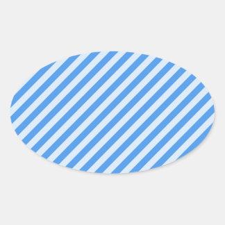 [STR-BLU-01] Bastón de caramelo azul rayado Pegatina Ovalada