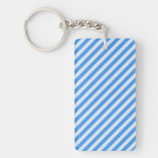 [STR-BLU-01] Blue candy cane striped Double-Sided Rectangular Acrylic Keychain