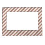 [STR-BRO-1] Brown y blanco rayados Marcos Magneticos Para Fotos