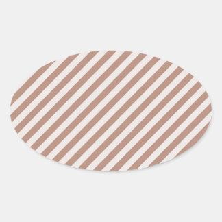 [STR-BRO-1] Brown y blanco rayados Colcomanias Ovaladas Personalizadas