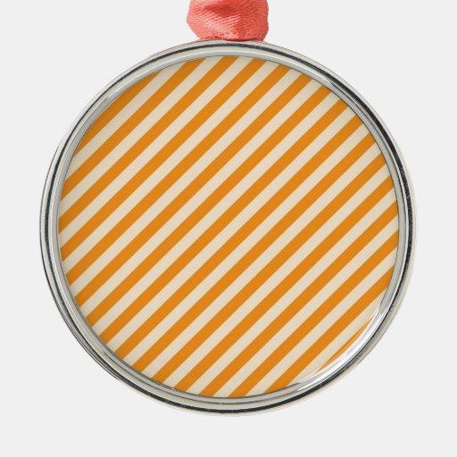 [STR-OR-1] Bastón de caramelo anaranjado y blanco Adorno Navideño Redondo De Metal