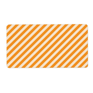 [STR-OR-1] Orange and white candy cane striped Custom Shipping Labels