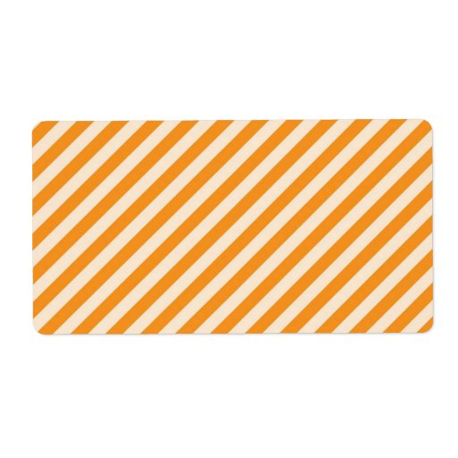[STR-OR-1] Orange and white candy cane striped Shipping Label