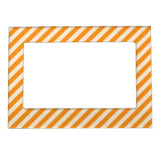 [STR-OR-1] Orange and white candy cane striped Magnetic Photo Frame