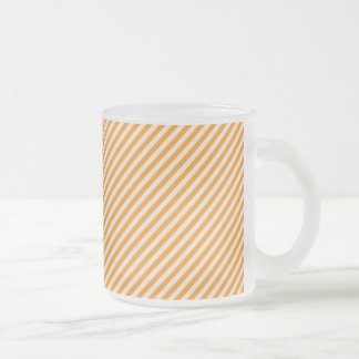 [STR-OR-1] Orange and white candy cane striped 10 Oz Frosted Glass Coffee Mug