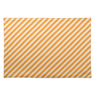 [STR-OR-1] Orange and white candy cane striped Placemat