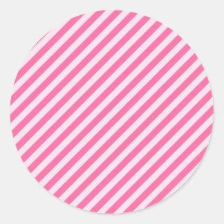 [STR-PINK-01] Bastón de caramelo rosado rayado Pegatina Redonda