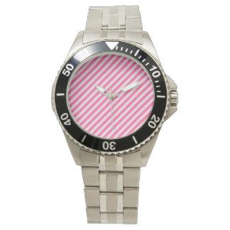 [STR-PINK-01] Bastón de caramelo rosado rayado Reloj De Mano
