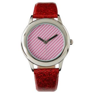 [STR-PINK-01] Bastón de caramelo rosado rayado Relojes De Mano