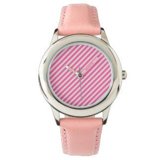 [STR-PINK-01] Bastón de caramelo rosado rayado Relojes De Pulsera