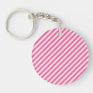 [STR-PINK-01] Pink candy cane striped Double-Sided Round Acrylic Keychain