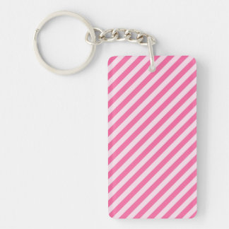 [STR-PINK-01] Pink candy cane striped Double-Sided Rectangular Acrylic Keychain