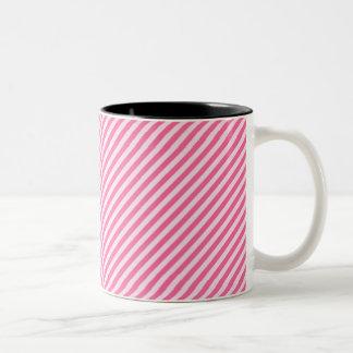 [STR-PINK-01] Pink candy cane striped Two-Tone Coffee Mug