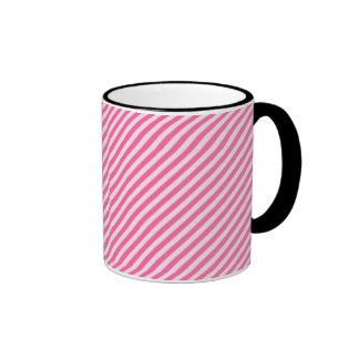 [STR-PINK-01] Pink candy cane striped Ringer Coffee Mug
