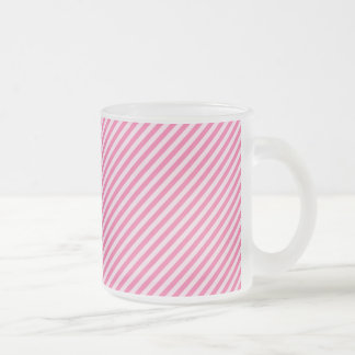 [STR-PINK-01] Pink candy cane striped 10 Oz Frosted Glass Coffee Mug