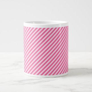 [STR-PINK-01] Pink candy cane striped 20 Oz Large Ceramic Coffee Mug