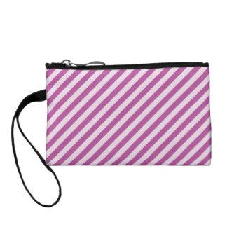 [STR-PU-1] Purple and white candy cane striped Coin Purse