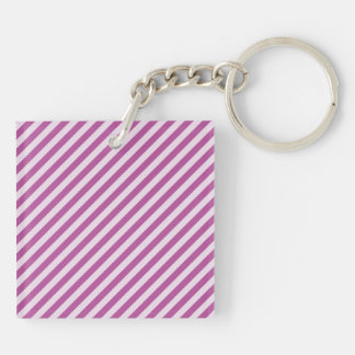 [STR-PU-1] Purple and white candy cane striped Double-Sided Square Acrylic Keychain