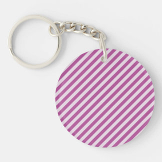 [STR-PU-1] Purple and white candy cane striped Single-Sided Round Acrylic Keychain