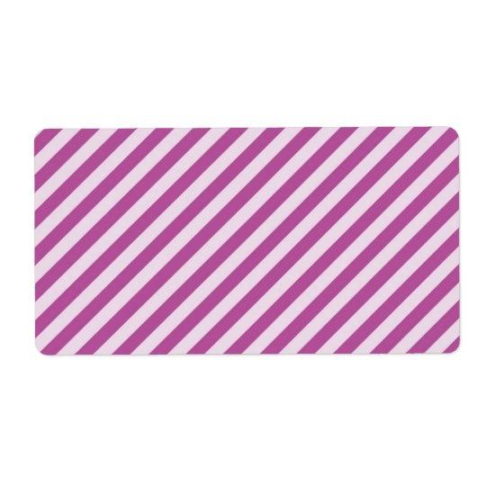 [STR-PU-1] Purple and white candy cane striped Label