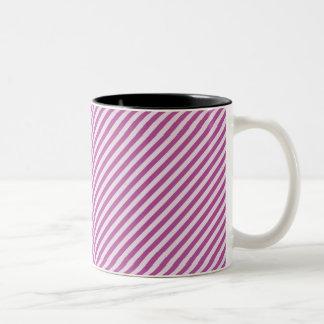 [STR-PU-1] Purple and white candy cane striped Two-Tone Coffee Mug
