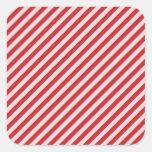 [STR-RD-1] Bastón de caramelo rojo y blanco rayado Calcomanías Cuadradas