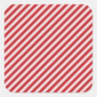 STR-RD-1 Bastón de caramelo rojo y blanco rayado Calcomanías Cuadradas
