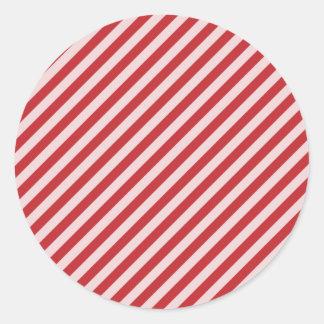 STR-RD-1 Bastón de caramelo rojo y blanco rayado Pegatina Redonda