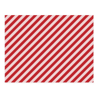 [STR-RD-1] Red and white candy cane striped Postcard