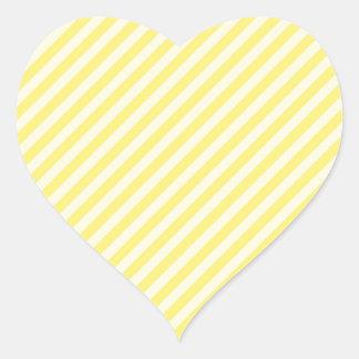 [STR-YE-01] Bastón de caramelo amarillo rayado Pegatina En Forma De Corazón