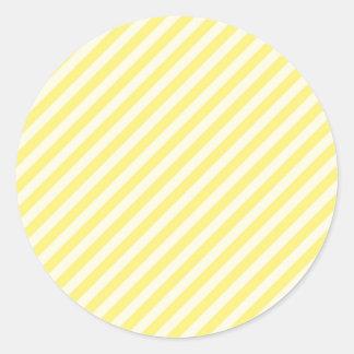 [STR-YE-01] Bastón de caramelo amarillo rayado Pegatina Redonda