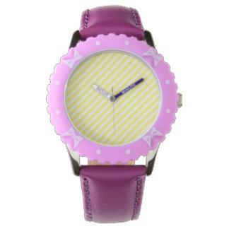 [STR-YE-01] Bastón de caramelo amarillo rayado Reloj De Mano