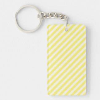 [STR-YE-1] Yellow and white candy cane striped Double-Sided Rectangular Acrylic Keychain