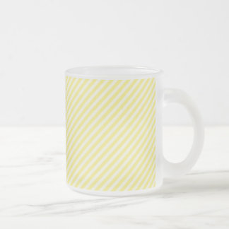 [STR-YE-1] Yellow and white candy cane striped 10 Oz Frosted Glass Coffee Mug