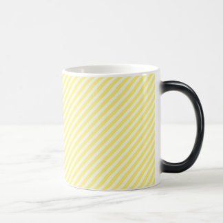 [STR-YE-1] Yellow and white candy cane striped 11 Oz Magic Heat Color-Changing Coffee Mug