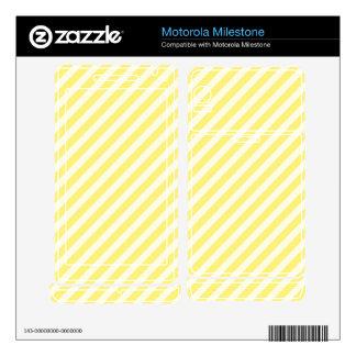 [STR-YE-1] Yellow and white candy cane striped Motorola Milestone Skins