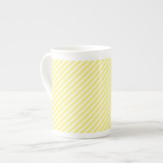 [STR-YE-1] Yellow and white candy cane striped Tea Cup