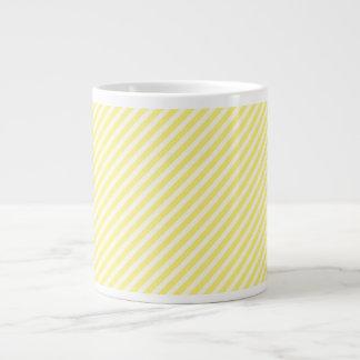 [STR-YE-1] Yellow and white candy cane striped 20 Oz Large Ceramic Coffee Mug